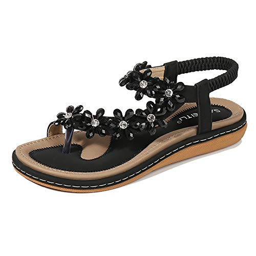 - Wollanlily Women Summer Beach Bohemia Flat Sandals Rhinestones Flower Ankle Strap Flip-Flop Shoes(8.5 B(M) US,Black 03)