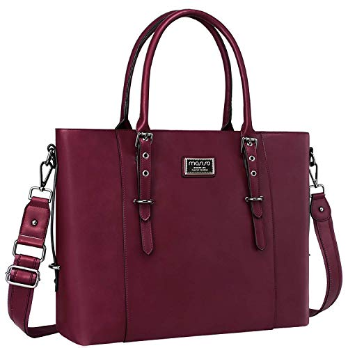 MOSISO Laptop Tote Bag for Women (Up to 15.6 Inch), Water Resistant PU Leather Large Capacity with Padded Compartment Business Work Shoulder Briefcase Handbag Compatible MacBook & Notebook, Wine Red