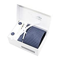 Newland Mens Handmade Polyester Silk Regular Width Necktie with Cufflinks Pocket Square and Tie Clip 3'' (8cm)