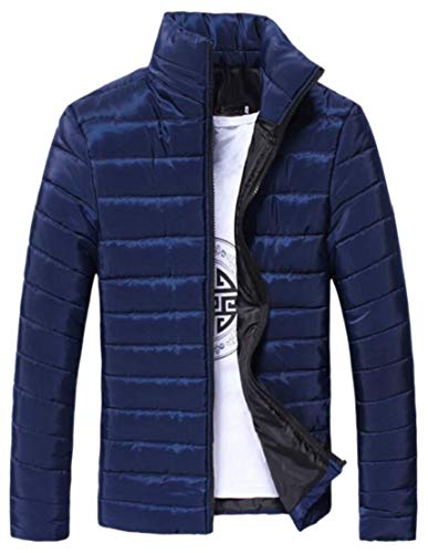 Warm Jacket Overcoat TTYLLMAO Fit Coat Winter Men Slim Stand Blue Collar Navy qAqp1tI