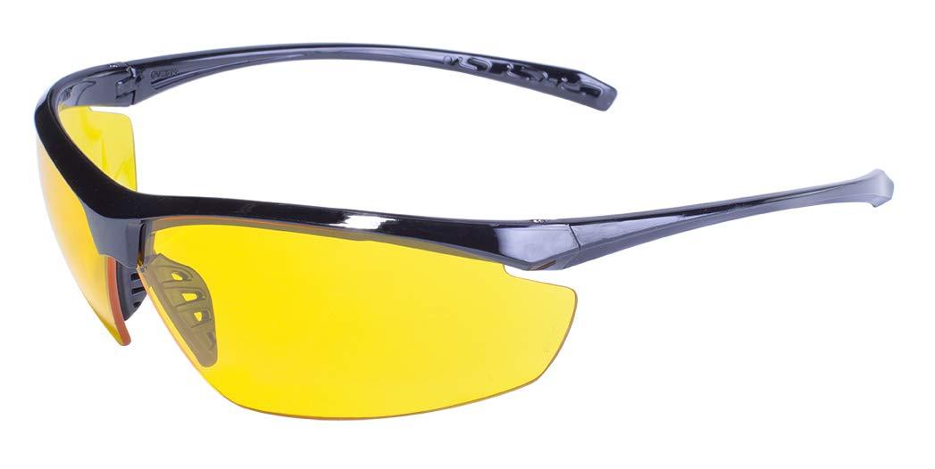 Global Vision Eyewear Lieutenant Safety Glasses, Yellow Tint Lens, Gloss Black Frame by Global Vision Eyewear