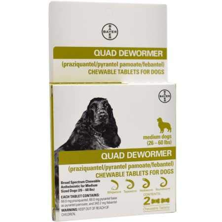 Bayer Quad Dewormer for Medium Dogs (2660 lbs) 2 Chewable Tablets by Bayer Animal Health