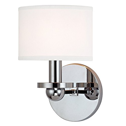Kirkwood 1-Light Wall Sconce - Polished Chrome Finish with White Faux Silk Shade by Hudson Valley Lighting