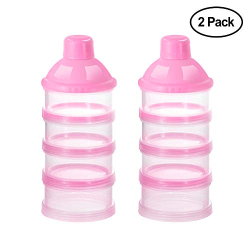 Accmor Baby Milk Powder Formula Dispenser, Non-Spill Smart Stackable Baby Feeding Travel Storage Container, BPA Free, 4 Compartments,Clear from Accmor