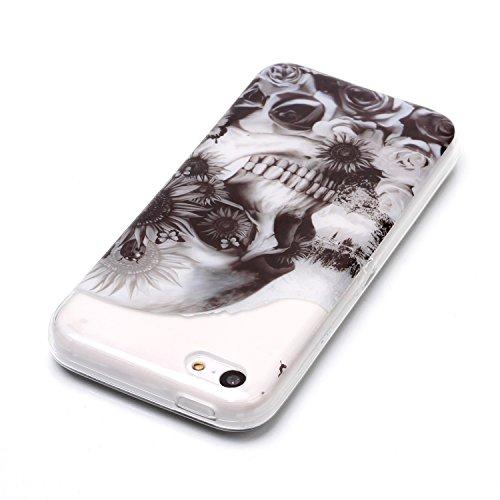 Coque iPhone 5C Fleur de crâne Premium Gel TPU Souple Silicone Transparent Clair Bumper Protection Housse Arrière Étui Pour Apple iPhone 5C + Deux cadeau