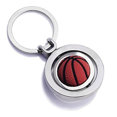 Jzcky Shzrp Cute Creative Car Keychain, Metal Pendant Key Chain Ring KeyRing Keyfob (Rotating Basketball) -