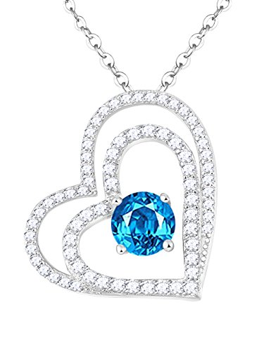 Geniune Swiss Blue Topaz Sterling Silver Necklace December Birthstone Jewelry Birthday Anniversary Gifts for Her -18