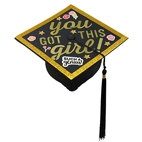 Pearhead Graduation Cap Decorating Kit with Stencils, Stickers, Washi Tape and Markers