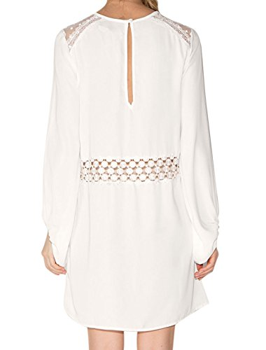 K Femmes Allegra Crocheter Panneau De Maille Creuse Robe Tunique Blanche En Trou De Serrure