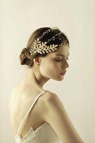 Bridal Gold Headband for Women – Vintage Multi Wedding Crown with Golden Olive Branch Leaves Handmade Pageant Princess Crown – Fabulous Greek Goddess …
