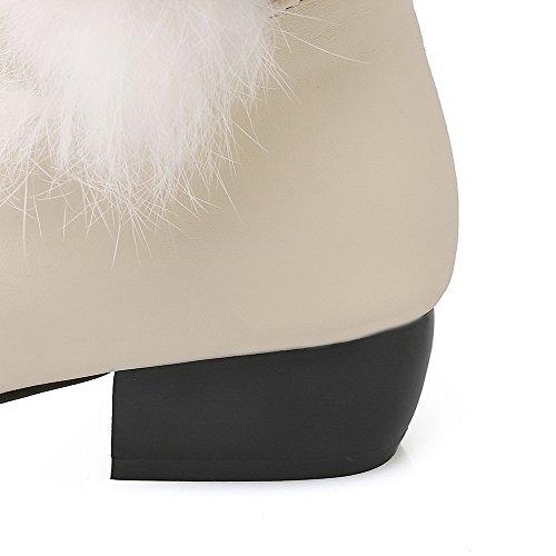 Tacco Basso Da Donna Con Tacco Basso In Morbido Materiale High-top Beige