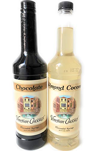 (Coffee Syrup - Chocolate Almond Cococonut Gift Pack - Venetian Classics Two 750 mL (25.3 oz) Bottles with Syrup Pumps ✡ OU Kosher)