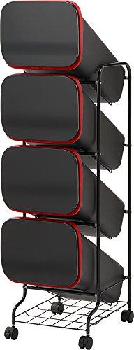リス URBANO(アルバーノ) 清掃シリーズ スタンドダストボックス(ゴミ箱) 5P BKブラックGETJ043 B01H1785T2 ブラック|5段 ブラック