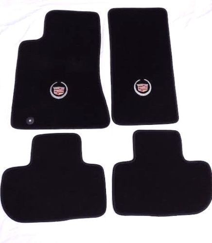 Cadillac CTS Black Carpet Floor Mats 4Pc-Licensed Cadillac Crest Logo -fits 2008-2010 (All Wheel Drive)