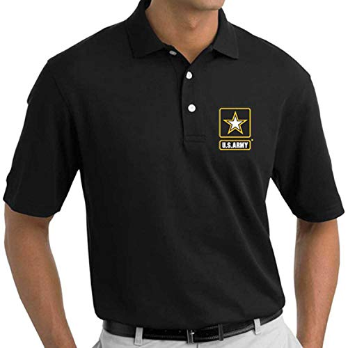 - VetFriends.Com US Army Logo Embroidered Polo Shirt (Black, X-Large)
