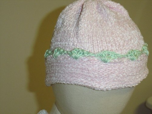 Ht1, Knitted on Hand Knitting Machine Pink Chenille Finished By Hand Crochet with Mint Chenille Infant Cap (0-6mo) ()