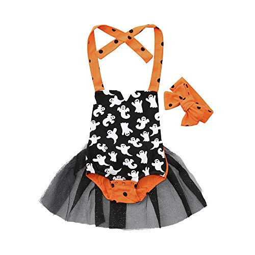 Baby Halloween Costume,Leegor Newborn Girl Prirnt Braces Skirt Romper+Headband Suit Clothes Set