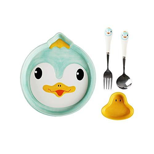 XQJDD Dish spoon fork set cute cartoon children tableware creative forest cute pet ceramic breakfast plate fruit plate duckling 23x20.8x3cm ()