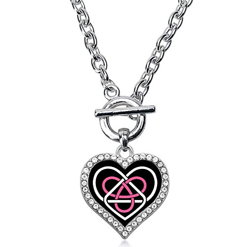 Inspired Silver - Celtic Sisters Knot Toggle Charm Necklace for Women - Silver Open Heart Charm 18 Inch Necklace with Cubic Zirconia Jewelry