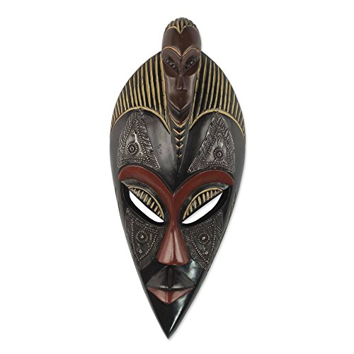 NOVICA Ghanaian Decorative Aluminum Wood Mask, Black Red, Good Thing' ()