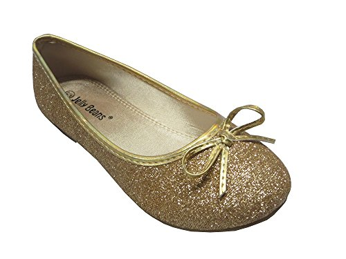 JELLYBEANS Girls Ballet Flat Dress Shoes STRAW Princess Shoes Costume Glitter Shoes (4M US Big Kid, Gold)