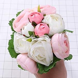 BESTOYARD 10pcs Artificial Flowers Camellia Bridal Wedding Bouquet Bridesmaid Bride Toss Bouquet Home Decoration (Pink & White) 4