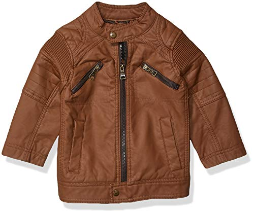 Urban Republic Toddler Boys Faux Leather Jacket, Cognac, 3T (Toddler Leather Jacket Boys)