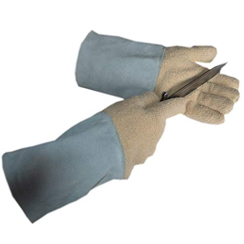 (DUDDP Gloves Food Grade Kitchen Glove Anti-Cutting BBQ Resistance 350°C high Temperature Terry Leather Puncture wear Industrial Gloves (Color : Gray) )