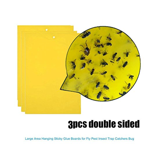 Goodlock 3Pcs Strong Flies Traps Bugs Sticky Board Catching Aphid Insects Pest Killer -