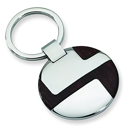 Stainless Steel Polished Wood Inlay Key Chain
