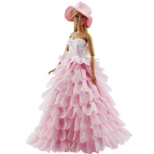 ETbotu Princess Evening Party Clothes Wears Dress Outfit Set for Mini Doll with Hat -