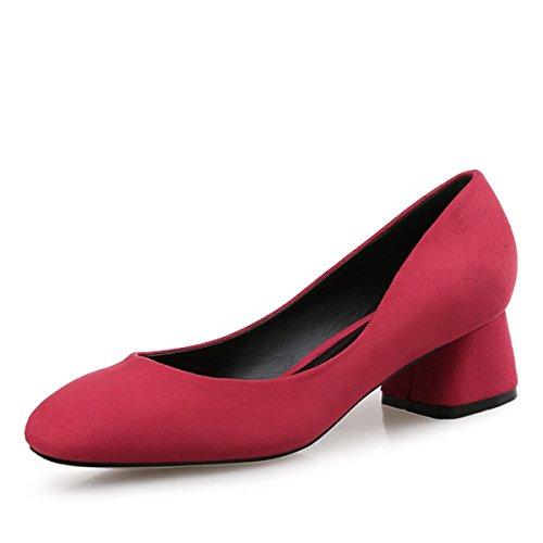 De Abierto Con Ante Cuadrada Zapatos Media De Otoño Mujeres Las De Talón De LYJBIK Red Primavera Punta Altura OR6qxwzn