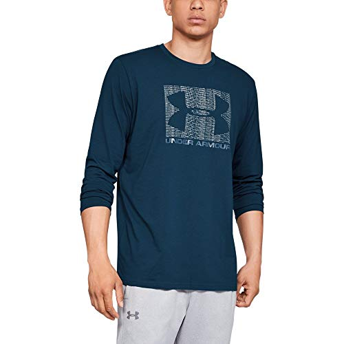 Under Armour Men's Boxed sportstyle Long sleeve, Techno Teal (489)/White, Medium (Under Armour Flash Shirt)