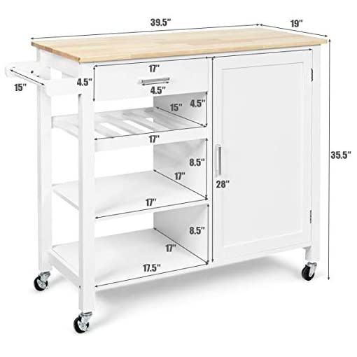 Kitchen Giantex Island Cart Rolling Kitchen Serving Cart Wood Trolley with Drawer, Storage Cabinet, Wine Bottle Rack, Towel… modern kitchen islands and carts
