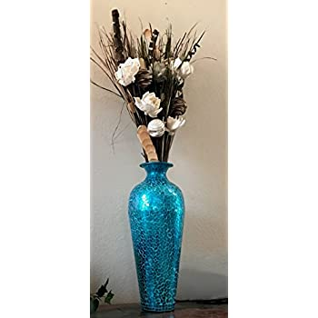 DecorShore Andalusian Vase -Sparkling Metal Vase with Moorish Floral Pattern Glass Mosaic Inlay, 20 in. Decorative Vase, Designer Vase (Turquoise)
