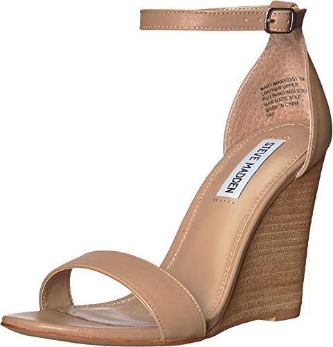 (Steve Madden Women's Mary Wedge Sandal Natural Leather 6.5 M US)
