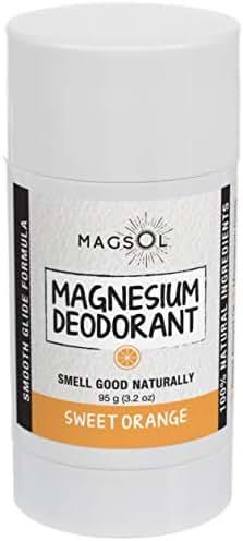 Sweet Orange (Light&Clean Scent) Magnesium Deodorant - Aluminum Free, Baking Soda Free, Alcohol Free, Cruelty Free, Sensitive Skin, All Natural, For Women Men Boys Girls Kids, 3.2 oz: Lasts >4 months