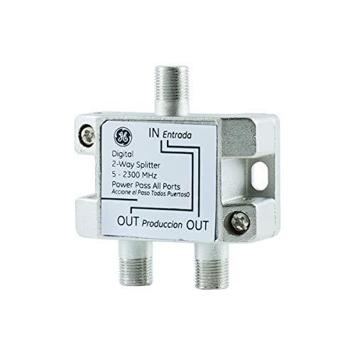 GE Digital 2-Way Coaxial Cable Splitter, F-Type Connectors, 5-2300 Mhz Range, Easy Installation, Works with TV, Cable Box, Antenna, Satellite Receiver and More, Silver, 27533