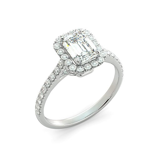 Engagement Emerald Cut Ring Charles & Colvard Forever One Moissanite & Round Cut Natural Diamond Your choice of 14k White Rose or Yellow Gold 1.61 ct ()