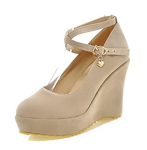 VogueZone009 Damen Nubukleder Hoher Absatz Rund Zehe Rein Schnalle Pumps Schuhe Aprikosen Farbe