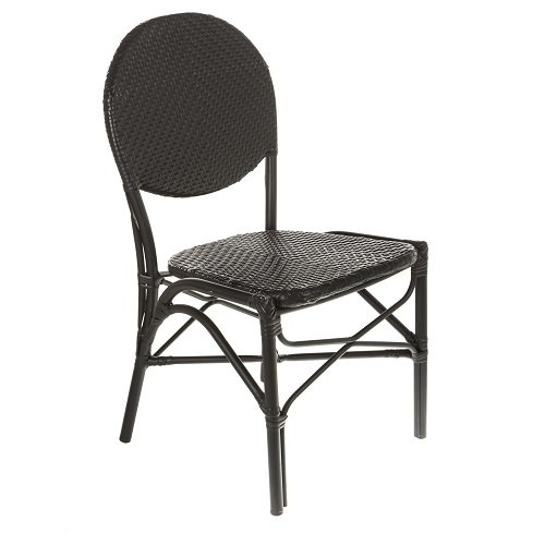 Mission Stack Chair (Table in a Bag CBCBB All-Weather Wicker French Café Bistro Chair with Aluminum Frame, Black)