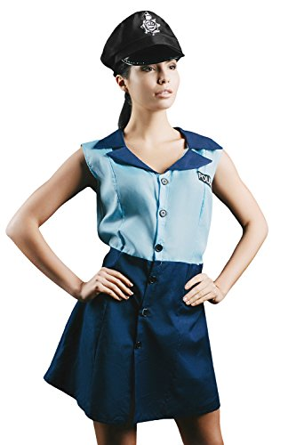Female Cop Costume Halloween (Adult Women Police Blue Coat Costume Officer Uniform Girl Role Play & Dress Up (Small/Medium, Blue, Navy Blue, Black))