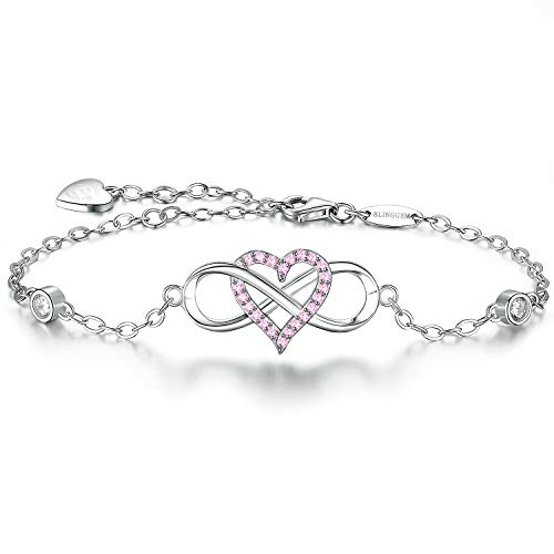 - BlingGem Womens Silver Bracelet in 925 Sterling Silver Infinity Heart Charm for Girls with Pink Cubic Zirconia Love Bracelet Fine Jewelry Mothers Day Presents for Mom