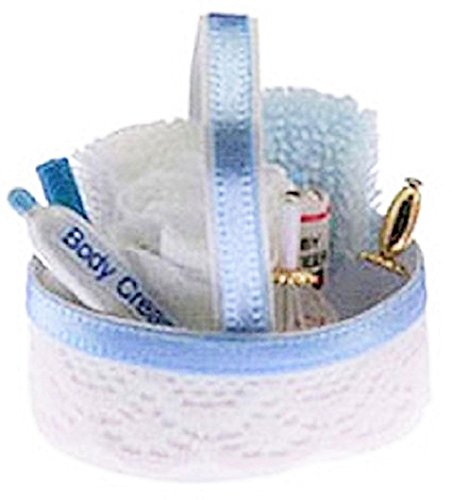 Melody Jane Dolls Houses House Miniature 1:12 Bathroom Accessory Blue Toiletry Cosmetics Basket