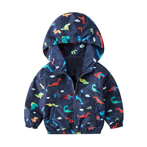 Moonker Baby Coat 2-6 Years Old,Toddler Girls Boys Kids Autumn Winter Dinosaur Print Hooded Outerwear Jacket Windbreaker (3-4 Years Old, Dark Blue)