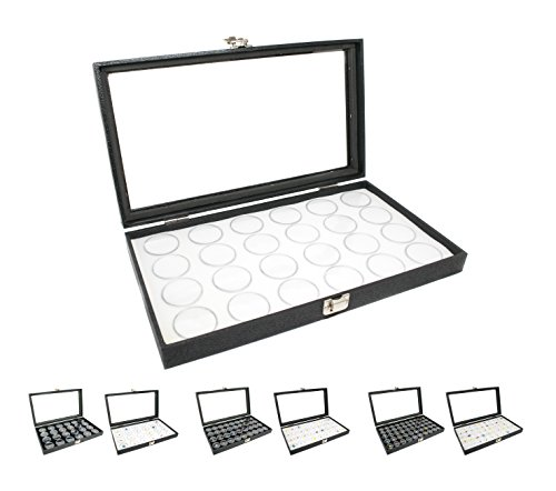 Novel Box Large Glass Top Black Leatherette Jewelry Display Case + 24 Count Jar Insert Tray in White + Custom NB Pouch