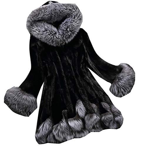 ouxiuli Womens Luxury Faux Fur Parka Coat Trech Jacket Outerwear Hoodie Overcoat Black XL