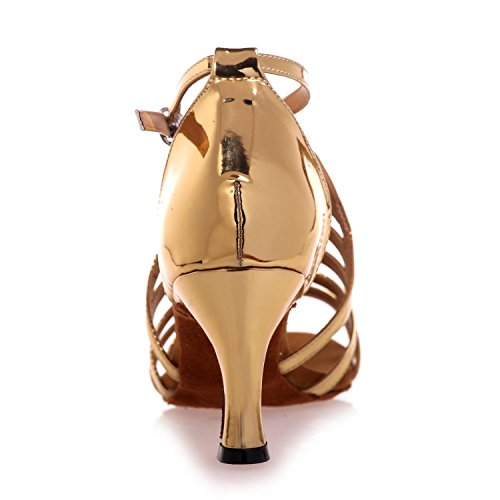 L 7 Jazz Swing Dance YC Custom Satin Beginners 5cm Heels Gold Shoes Female High Latin Professional wUwqT1r