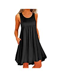 HTDBKDBK Dresses for Women Casual Summer Solid O Neck Casual Lace Sleeveless Above Knee Dress Loose Party Mini Dress