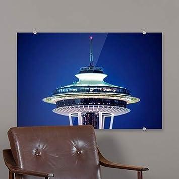 CGSignLab Circle CaptureSpace Needle at Night Premium Acrylic Sign | 18x12 5-Pack